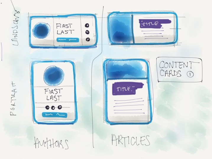 This was my initial sketch for The Quad's card interface. The landscape cards turned into the desktop design and the portrait ones are the mobile design.   Illustration by the author.