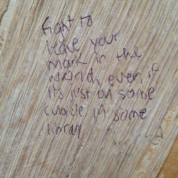 """Fight to leave your mark in the world, even if it's just on some cubicle in some library"""