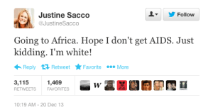 The Tweet Heard 'Round the World: Justine Sacco's racially insensitive tweet cost her her job | Screenshot from boingboing.net