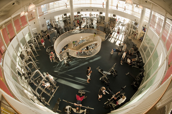 BU Fitness and Recreation Center, founded in 2005, houses an 18,000-square-foot weight and cardio room, a 1/7 mile indoor running track, a climbing wall, swimming pool, and a lazy river | photo courtesy of BU Today