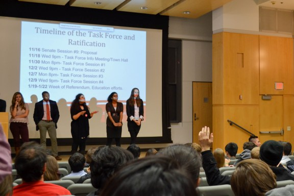PERSON, PERSON, PERSON, PERSON, present at the Student Government senate meeting. | Photo by Michael Dratch