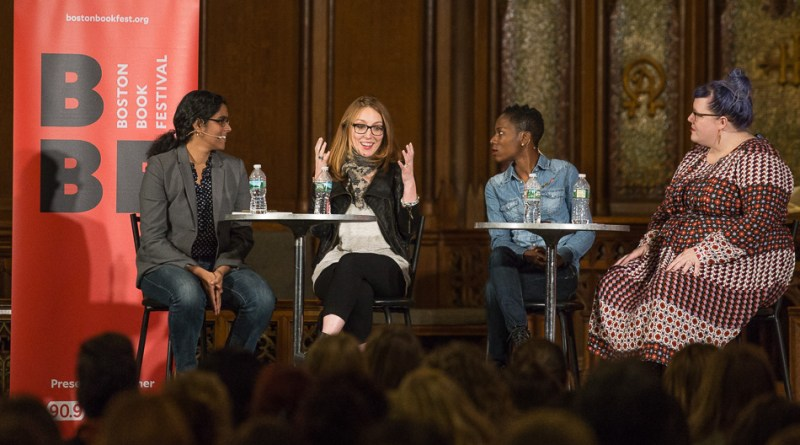 "(From left) Meghna Chakrabarti, Moira Weigel, and Luvvie Ajayi tackle the subject of sexism and being a strong woman in the media world during the ""Super Women"" panel in the Church of the Covenant on Saturday afternoon. Photos by Alexandra Wimley"
