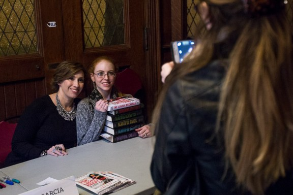 Young Adult Author Kami Garcia takes a photo with Shannon Fay, 27, of Boston, who has read all of Garcia's books.