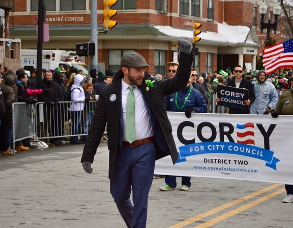 Corey Dinopoulos, a candidate for city council, participated in the parade.