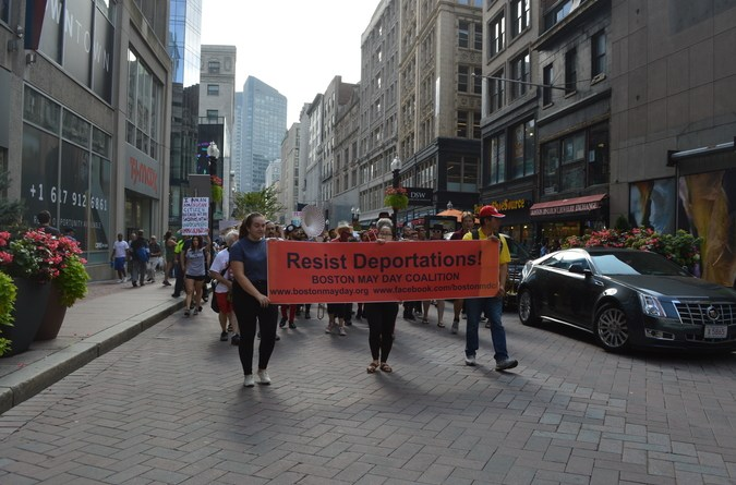 The march took the group through Downtown Crossing down Washington Street.