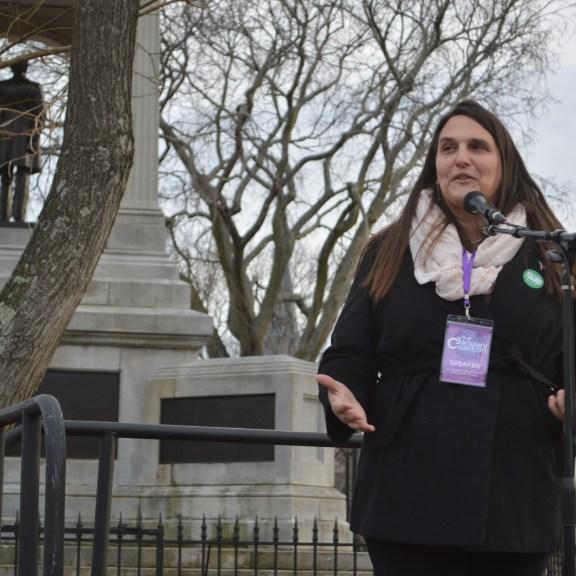 Liz DeSelm spoke about transgender rights. Photo by Carolyn Komatsoulis