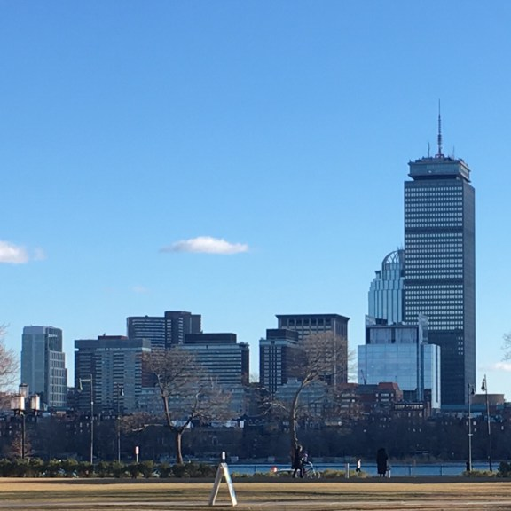 A view of the Boston skyline from Cambridge.
