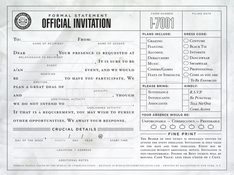 The Bureau of Communication - Fill-in-the-blank Correspondence - invitation forms