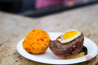 Macon's pimento cheese, quail egg and collard greens entry.