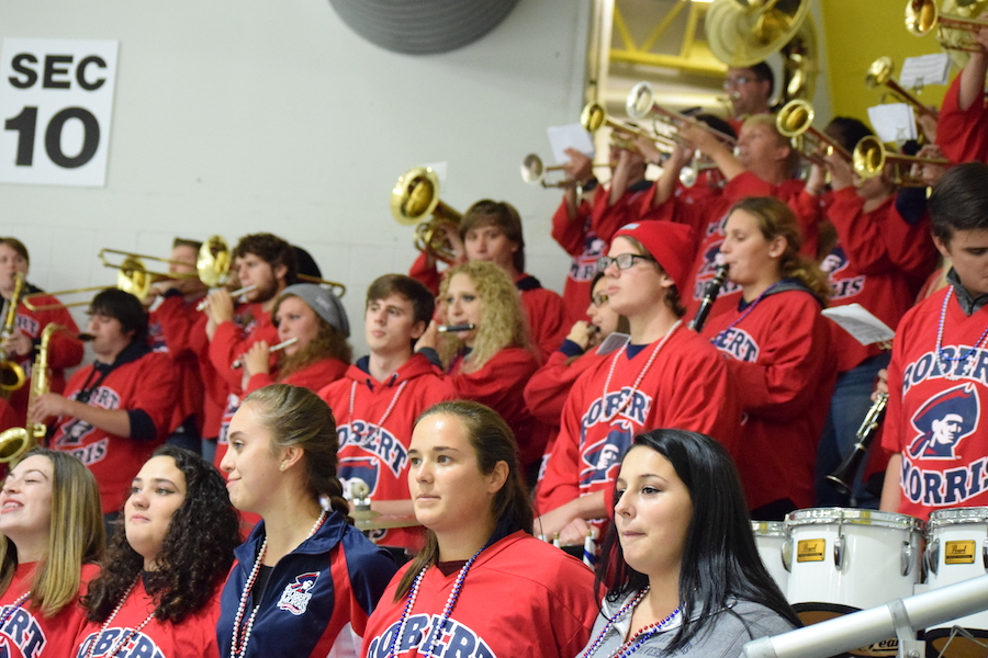 The RMU Pep Band plays the Alma Mater