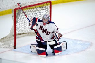Robert Morris goaltender Noah West (31) makes a save during a game against Niagara at Clearview Arena at the RMU Island Sports Center on Sunday, Jan. 10, 2021. -- BRIAN MITCHELL