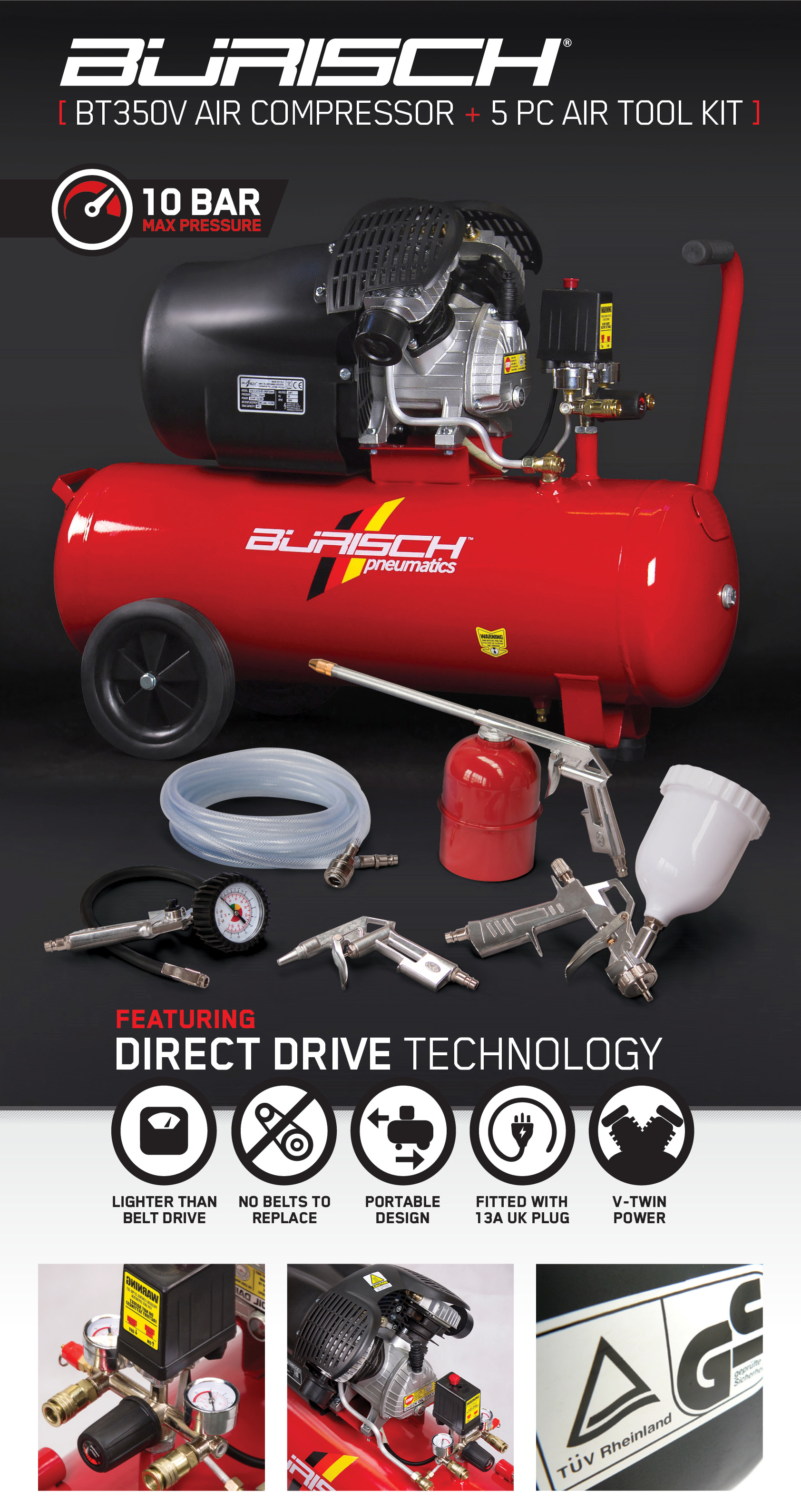 Tyres Direct Luton Air Compressor 50l 43 5pc Accessory Kit 3hp 10bar V Twin