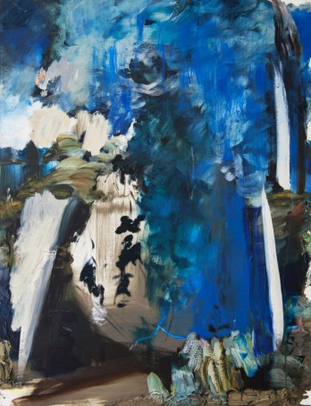 Annie Lapin, Air Pour Scape, 2013; oil on canvas, 57 by 44 inches. Collection of Thao Nguyen, Los Angeles.