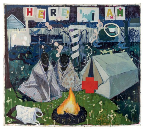 Kerry James Marshall, Campfire Girls, 1995; acrylic and collage on canvas, 103 by 114 inches. Collection of Dick and Gloria Anderson.