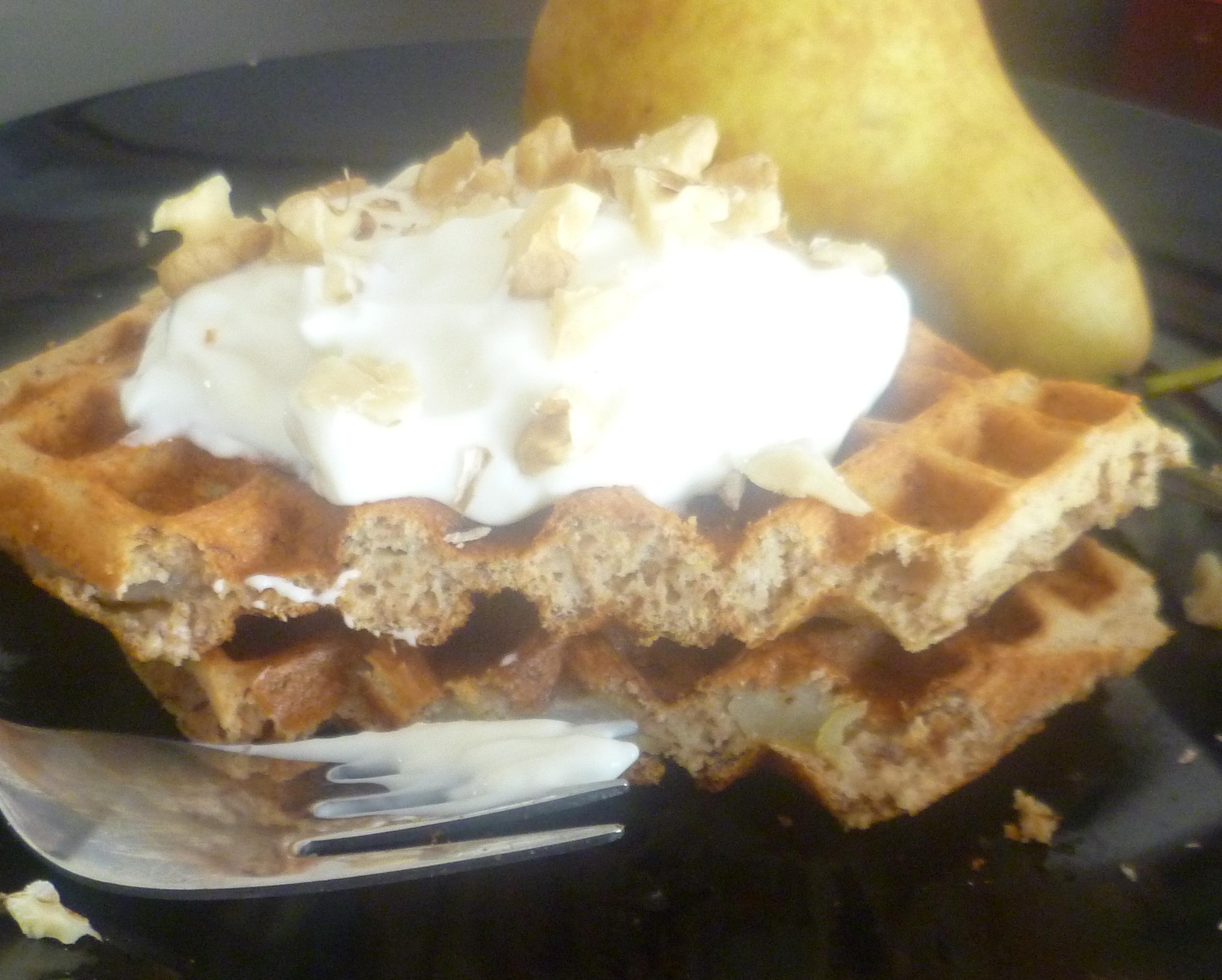 Pear Walnut Waffles