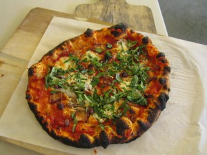 Pizza made in KAF WFO class, using this dough
