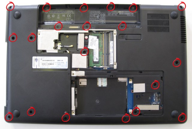 HP Compaq screws to remove to open it up