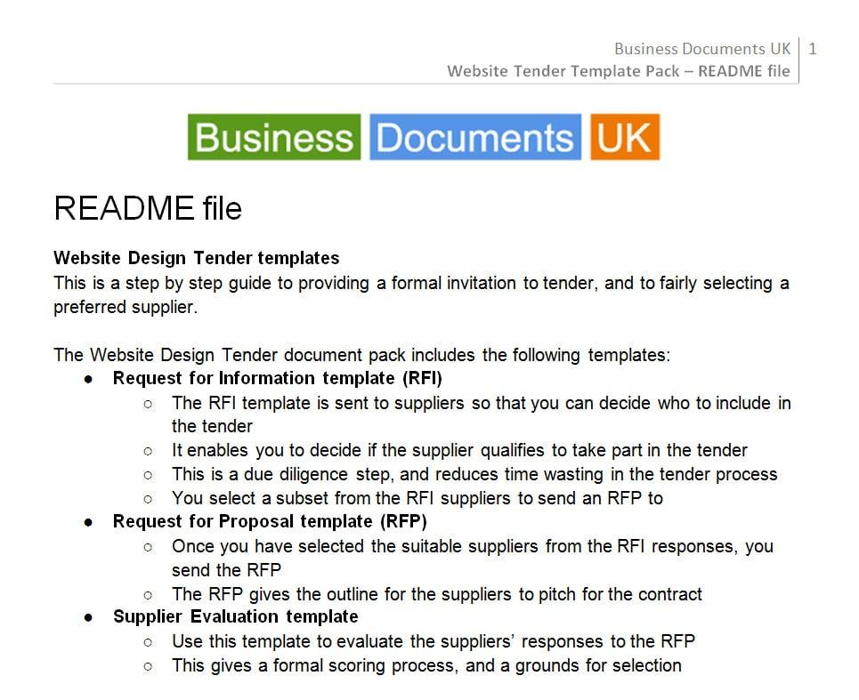 Website Design, Tender  Commission Template - tender document template