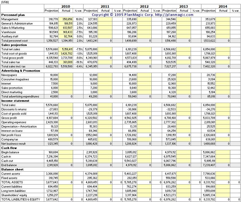 Financials in a business plan