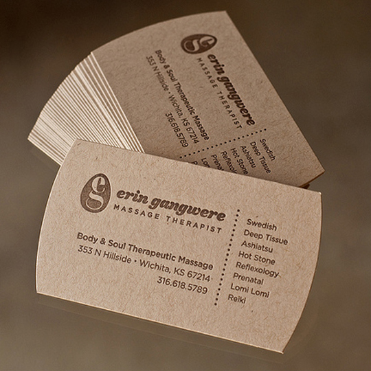 Massage Therapy Business Card for Erin Gangwere