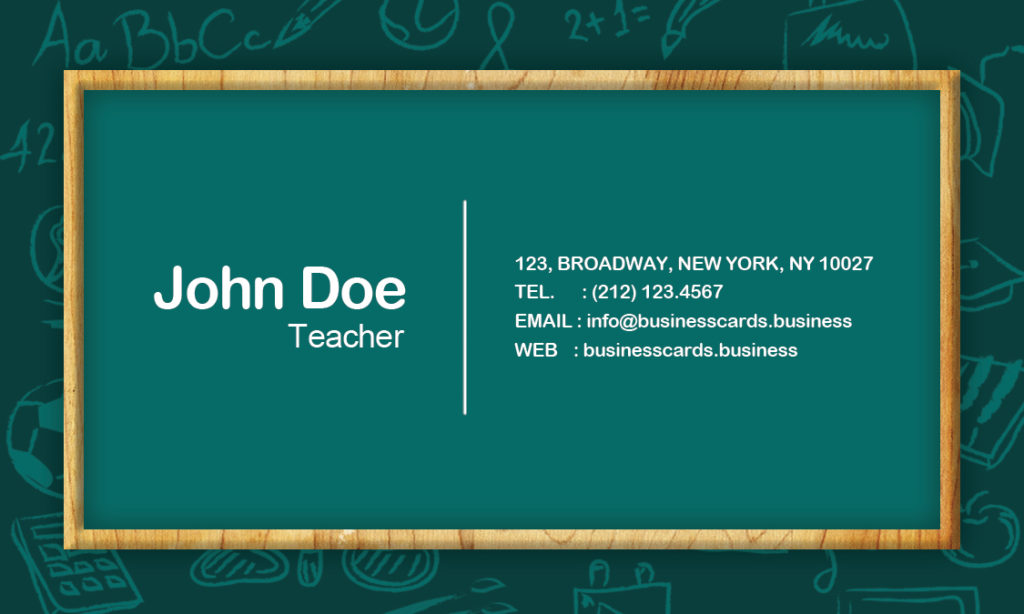 Exelent Teacher Business Card Template Motif - Business Card Ideas - Buisness Card Template