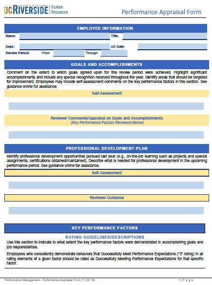 Performance Management Faculty Briefing - PDF - standard performance review form