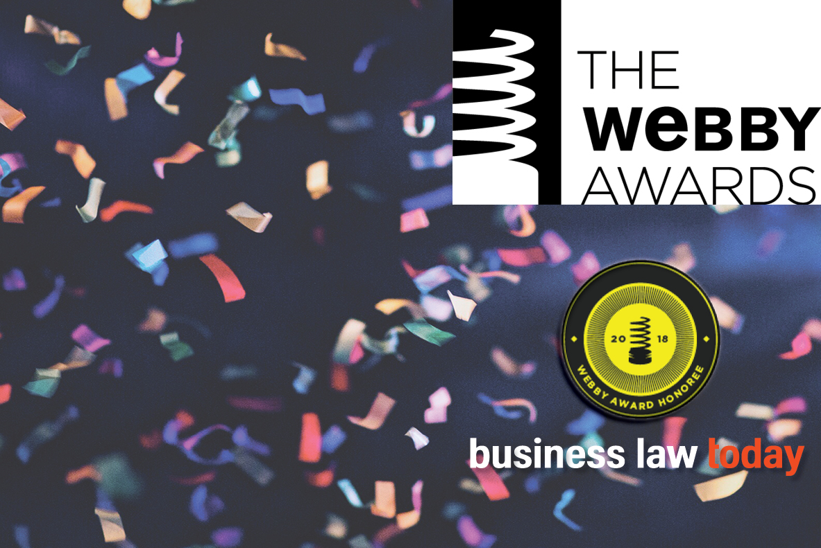 Banc A Charge Guidee Business Law Today Recognized As A 2018 Webby Awards Honoree
