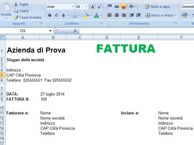 Modelli di fatture in excel, word, open office e pdf Business