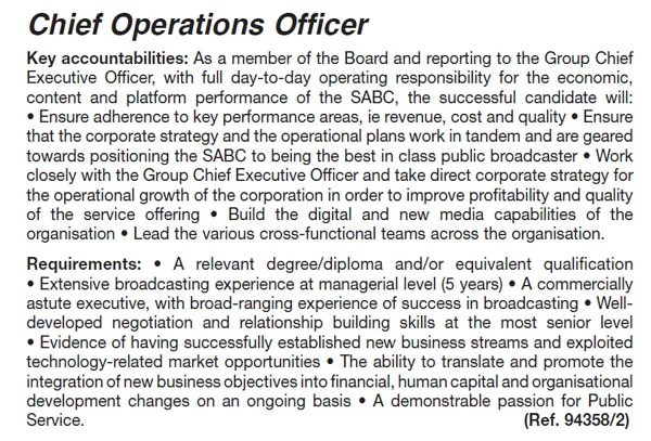 This is the SABC COO job advert - chief operating officer job description