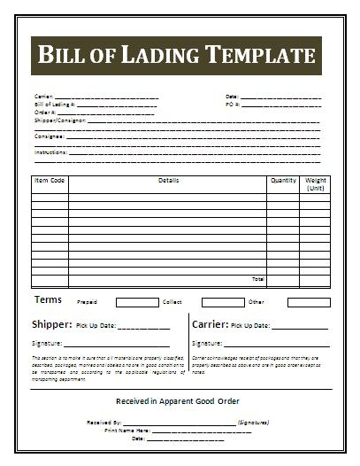 Bill Of Lading Form Free Download – Printable Bill of Lading Short Form