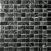 Marble & Glass Black Tiles Natural Stone & Glass Mosaic ...