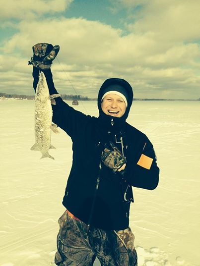 "Fish ON! Nice 27"" Pike Caught on a tip-up while testing the Ambush DLX."