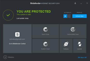Bitdefener User Interface
