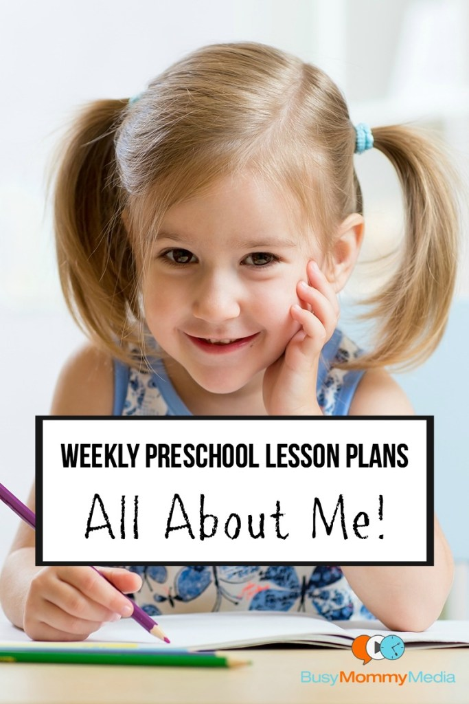 Weekly Preschool Lesson Plans - All About Me | This is a complete lesson plan that you can do at home with your preschooler! This includes some great educational activities!
