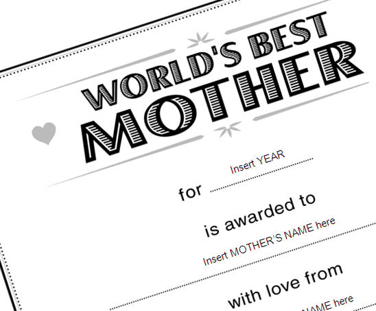 Best Mother Certificate Template to Use on Mother\u0027s Day Lesson