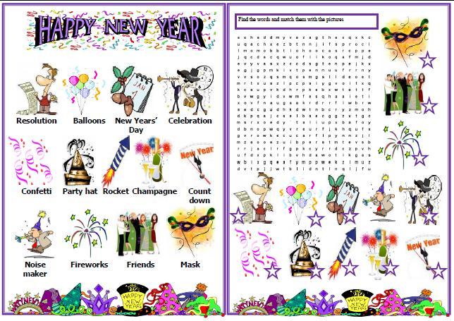 New Year Wordsearch Puzzle