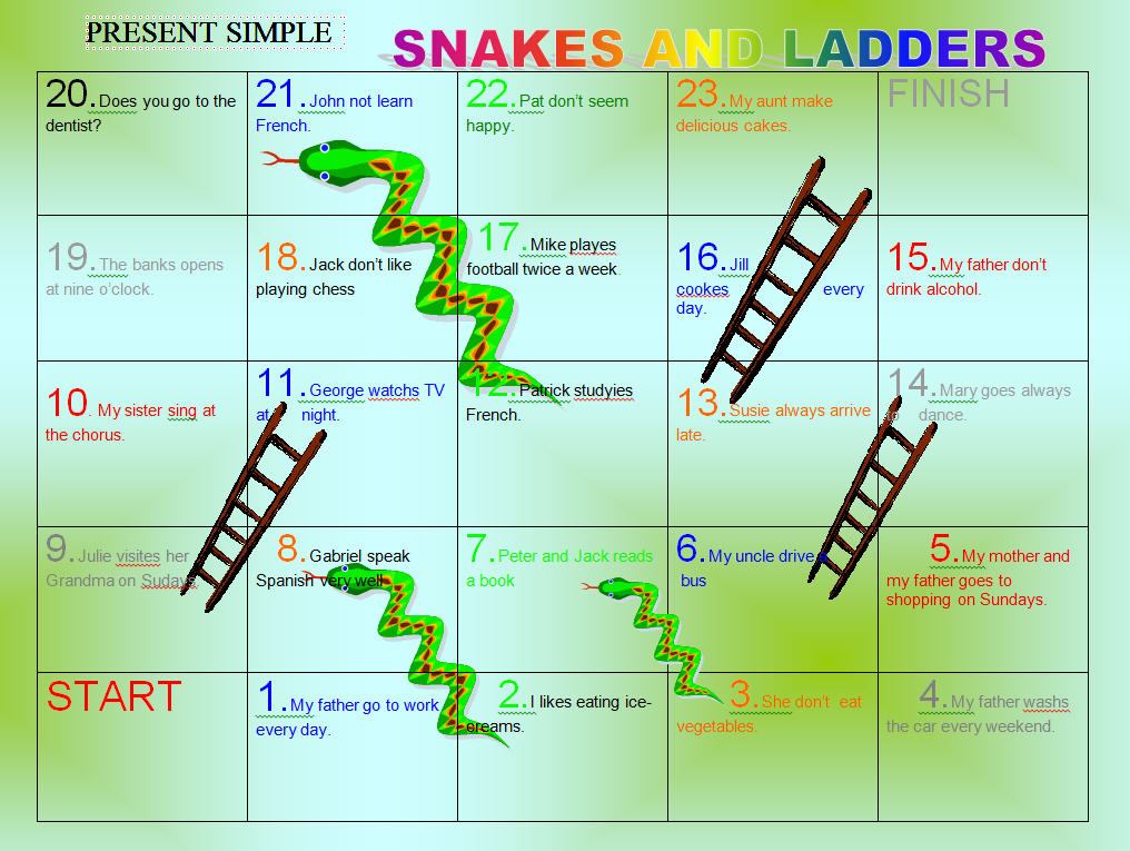 Correct The Mistakes Present Simple Snakes And Ladders Game