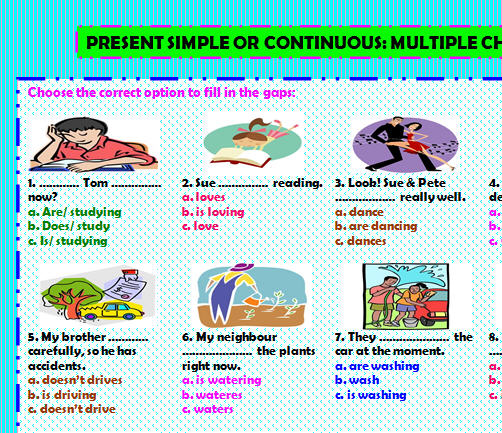 Simple or Continuous Present Multiple Choice