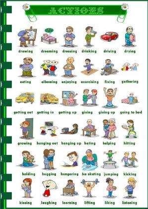 Action Verbs Picture Dictionary - action verbs