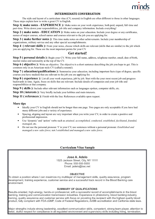 english intermediate cv