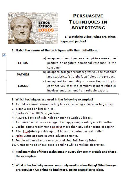ethos pathos logos ad examples