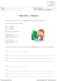 English Worksheet - Haiku Poem: Christmas