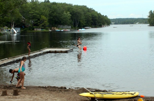 Jumping into the lake like the kids do