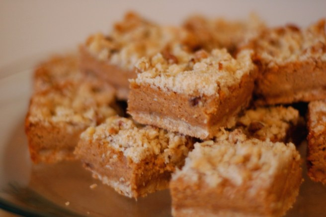 Pumpkin Cheesecake Bars with Walnut Streusel