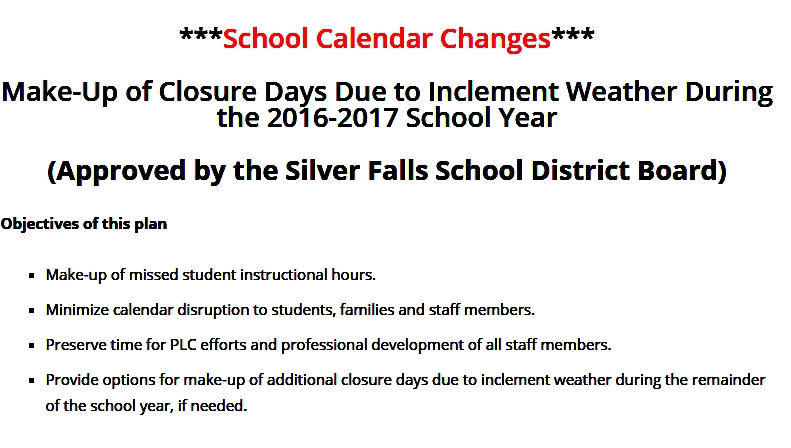 School Calendar Changes \u2013 Please Read! \u2013 Butte Creek Elementary School