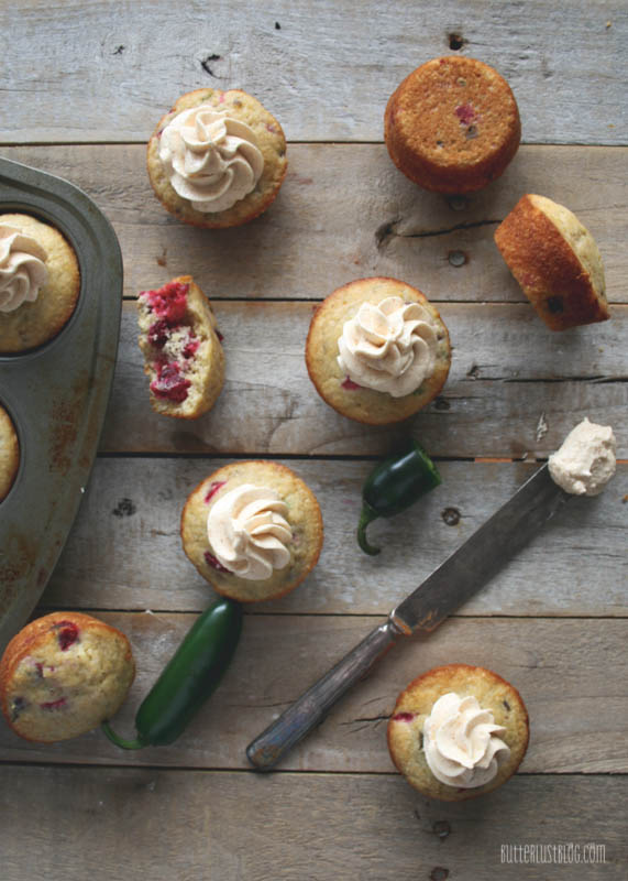 Cranberry Jalapeno Cornbread Muffins with Secret Ingredient Honey Cayenne Butter | ButterlustBlog.com