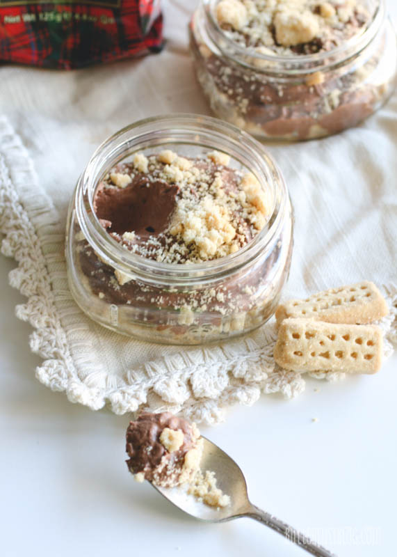 Lightened-Up Chocolate Mousse Shortbread Jars | butterlustblog.com #healthy #light
