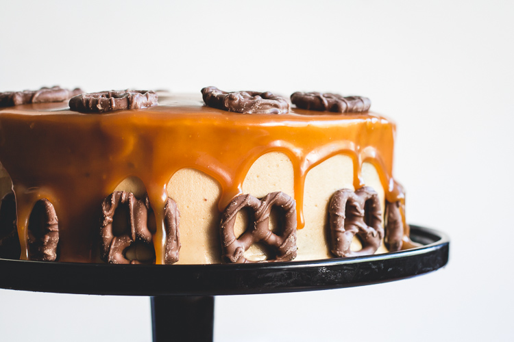 Bourbon & Peanut Butter Chocolate Cake With Salted Caramel Drizzle // butterlust.com @butterlustblog
