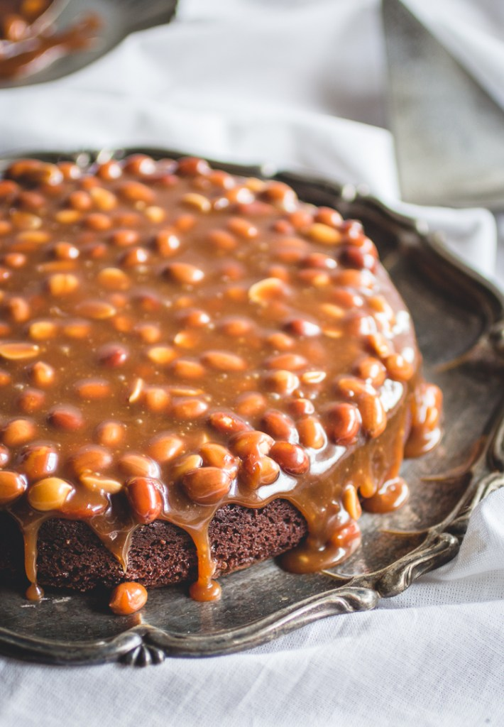 Brownie Cake with Salty Caramel + Peanut Topping // butterlustblog.com