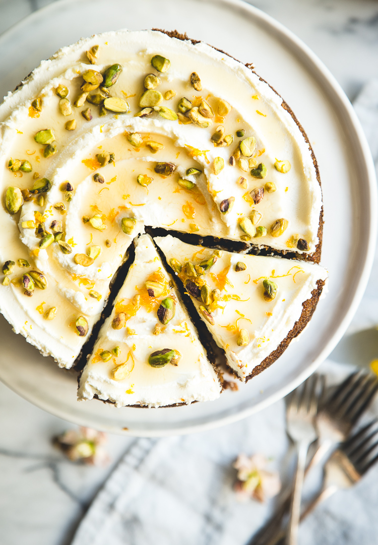 Cardamom & Pistachio Carrot Cake + Orange Blossom & Honey Labneh // butterlust.com